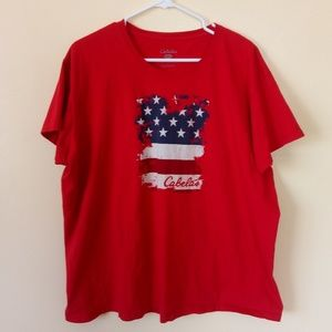 👍 Red Cabela's American Flag Tee 2XL